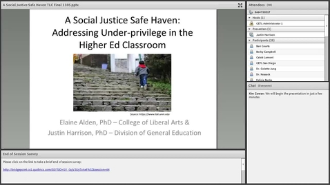 Thumbnail for entry A Social Justice Safe Haven: Addressing Under-Privilege in the Higher Ed Classroom