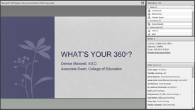 Thumbnail for entry Dr Denise Maxwell: What is Your Three-Sixty (360)?