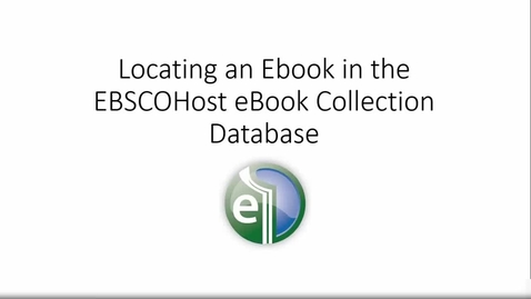 Thumbnail for entry EBSCO Ebook Collection