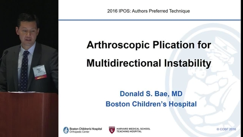 Thumbnail for entry Arthroscopic Plication for Multidirectional Instability of the Shoulder