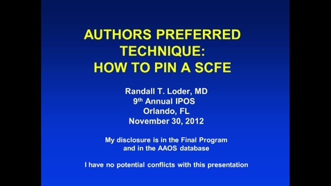 Thumbnail for entry How to Pin a SCFE