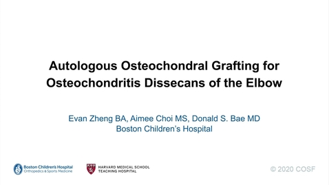 Thumbnail for entry Autologous Osteochondral Grafting for Osteochondritis Dissecans of the Elbow