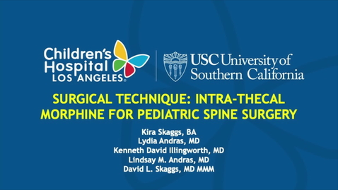 Thumbnail for entry Intrathecal Morphine for Pediatric Spine Surgery