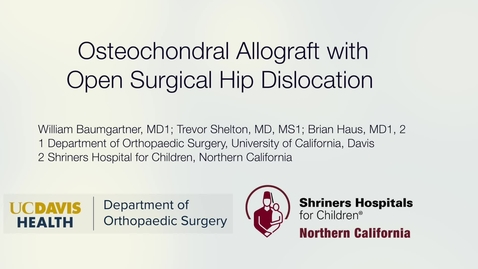 Thumbnail for entry Osteochondral Allograft with Open Surgical Hip Dislocation