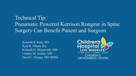 Thumbnail for entry Technical Tip: Pneumatic Powered Kerrison Rongeur in Spine Surgery Can Benefit Patient and Surgeon