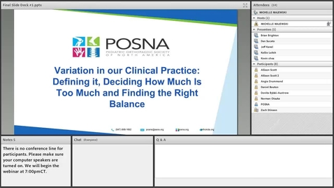 Thumbnail for entry Variation in our Clinical Practice:  Defining it, Deciding How Much Is Too Much and Finding the Right Balance