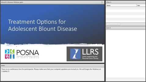 Thumbnail for entry Treatment Options for Adolescent Blount Disease