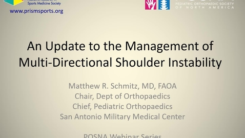 Thumbnail for entry An Update to the Management of Multi-Directional Shoulder Instability