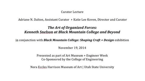 Thumbnail for entry Curator Lecture