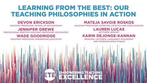 Thumbnail for entry Learning From the Best: Our Teaching Philosophies in Action