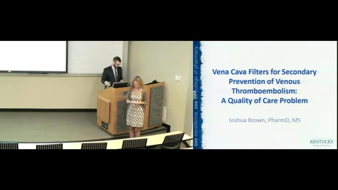 Thumbnail for entry POP July 12th 2016 - Joshua Brown - Vena Cava Filters for Secondary Prevention of Venos Thromboembol