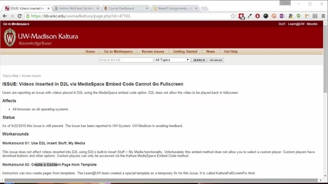Thumbnail for entry ISSUE: Videos Inserted in D2L via MediaSpace Embed Code Cannot Go Fullscreen