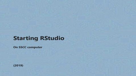 Thumbnail for entry Starting RStudio short version