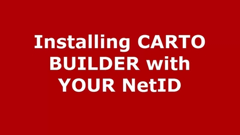 Thumbnail for entry How to Set Up CARTO Builder with a UW-Madison Account