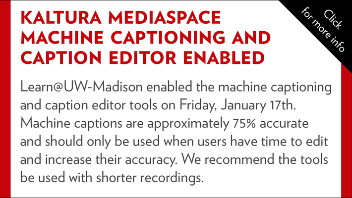 Machine captioning and caption editor enabled in Kaltura MediaSpace
