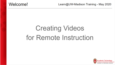 Thumbnail for entry Creating videos for remote instruction May 19 2020