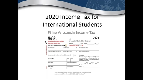 Thumbnail for entry State Filing Tax Tips for UW International Students