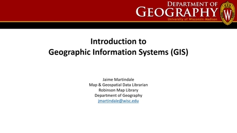 Thumbnail for entry Introduction to Geographic Information Systems (GIS) Workshop