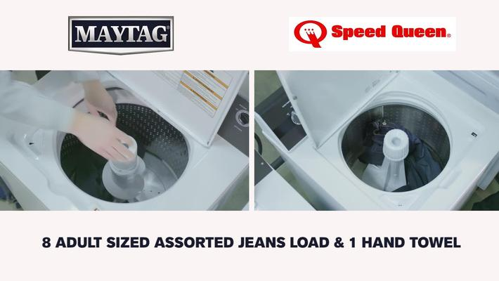 Top-Load Washer Rollover Comparison: Maytag ® Commercial-Grade MVWP575GW / Speed Queen ® 2018 Commercial-Grade TR3000WN