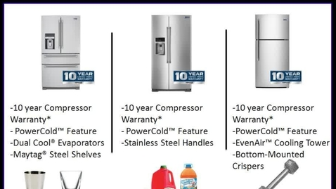 """Thumbnail for entry Maytag Refrigeration """"ONE-MINUTE SALES PITCH"""" - Advantage Live - Maytag Brand"""