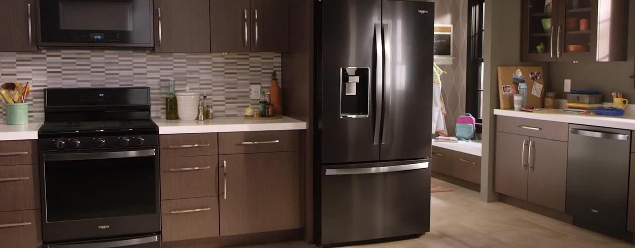 Fingerprint-resistant black stainless steel by Whirlpool Brand