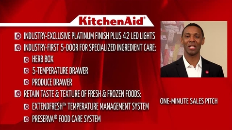 """Thumbnail for entry KitchenAid 5-Door French Door Refrigerator One-Minute """"Sales Pitch"""" - Advantage Live"""