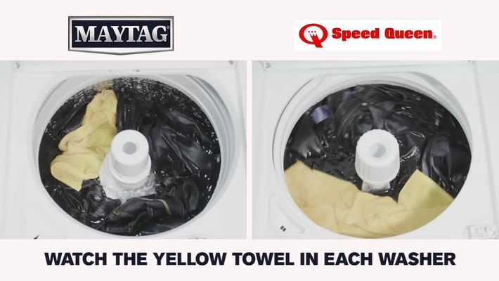 Top-Load Washer Rollover Comparison: Maytag ® Commercial-Grade MVWP576KW / Speed Queen ® Commercial-Grade TR3000WN