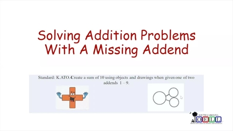 Thumbnail for entry 5K Math Week 4 Day 2 Finding Missing Addend, Part 1