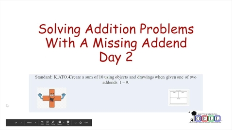 Thumbnail for entry 5K Math Week 4 Day 3 Finding Missing Addend, Part 2