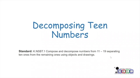 Thumbnail for entry 5K Math Week 3 Day 5 Decomposing Teen Numbers
