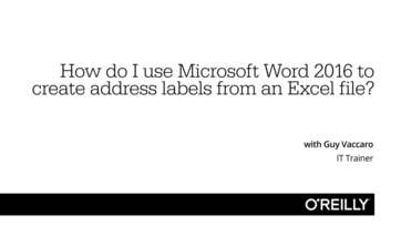 video thumbnail for how do i use microsoft word 2016 to create address labels from an