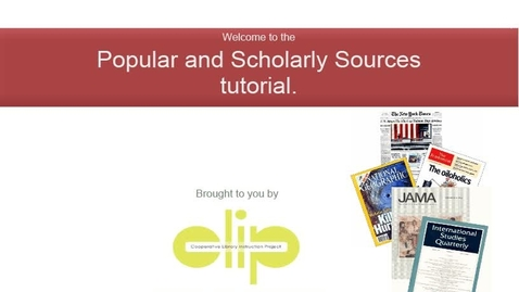 Popular and Scholarly Sources