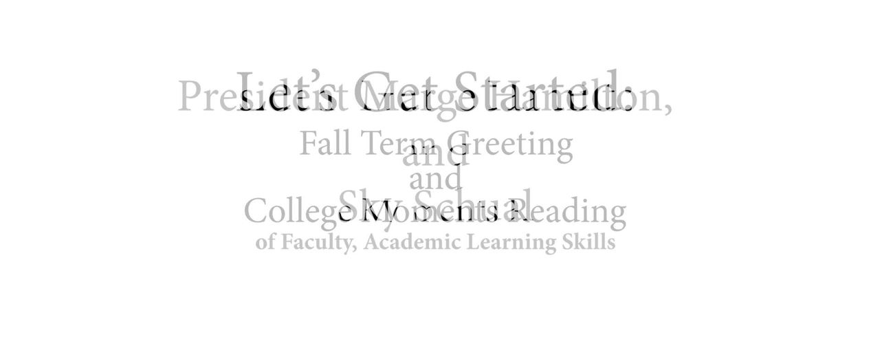 01 Fall Inservice 2018: Let's Get Started