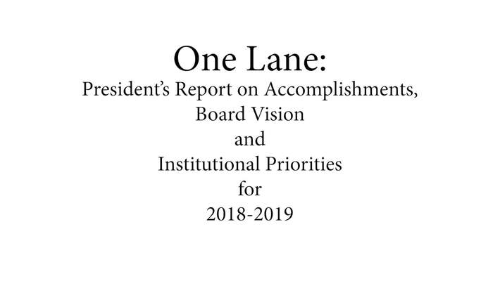 03 Fall Inservice 2018: One Lane