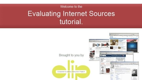 Thumbnail for entry Evaluating Internet Sources