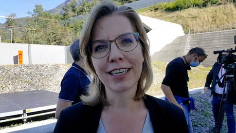 Einweihung Ceneri-Basistunnel: Leonore Gewessler, Bundesministerin für Klimaschutz, Umwelt, Energie, Mobilität, Innovation und Technologie der Republik Österreich
