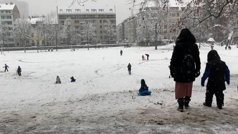 Endlich! Schlitteln und Schneemann-Bauen im üppigen Basler Januarschnee im Margarethenpark und am Margarethenhügel