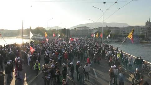 1800 Bauarbeiter protestieren in Genf gegen Lohndumping