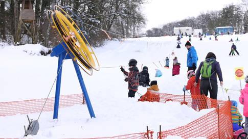 Selten: Der Skilift Rotberg in Betrieb am 20. Januar 2021