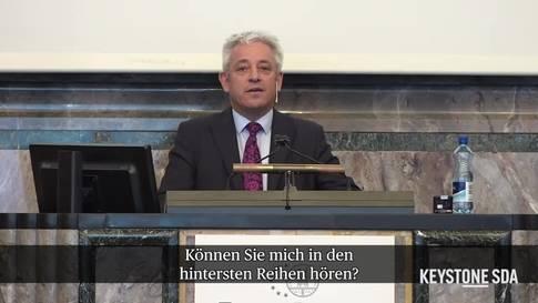 """John Bercow in Zürich: """"Können Sie mich hören?"""""""