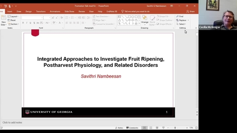 Thumbnail for entry Horticulture Seminar - Dr. Savithri Nambeesan 3/3/21