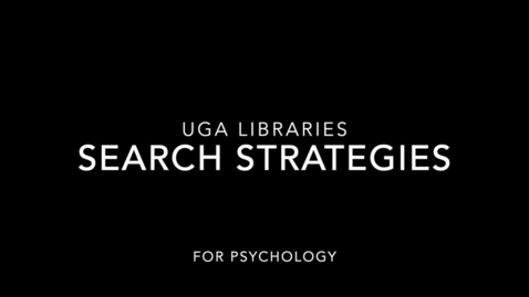 Thumbnail for entry Search Strategy for Psychology