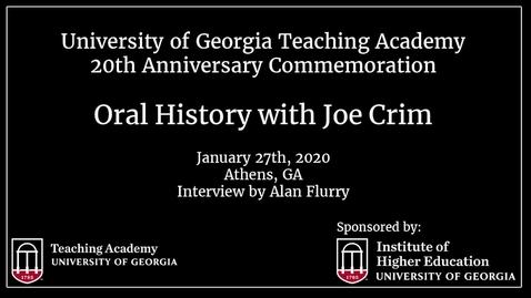 Thumbnail for entry UGA Teaching Academy - Joe W. Crim