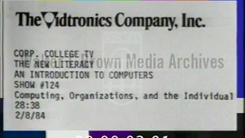 Thumbnail for entry The New Literacy: An Introduction to Computers. [Program 24, No. 124], Computing Organizations and the Individual 1984 | 1b of 1 | 84022edt-1b