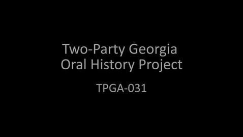 Thumbnail for entry Frank Strickland, Two-Party Georgia Oral History Project