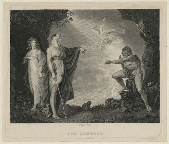 John Peter Simon, The Inchanted Island: Before the Cell of Prospero (engraving, 1797) based on a painting by Henry Fuseli (1741-1825). Folger:  ART File S528t2 no. 112
