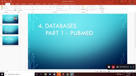 Thumbnail for entry FDNS 4600 / 6600 Food and Nutrition Policy - Library Instruction Part 4: Databases (PubMed)