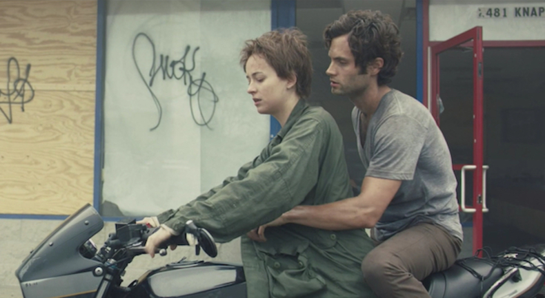 Dakota Johnson as Imogen and Penn Badgley as Posthumous