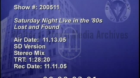 Thumbnail for entry Saturday Night Live in the '80s: Lost and Found | 1 of 1 | 2005115ent