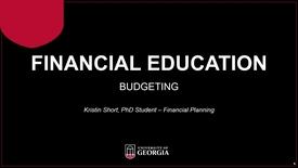 Thumbnail for entry Budgeting Webinar (Spring 2019) - UGA Graduate Financial Education Program